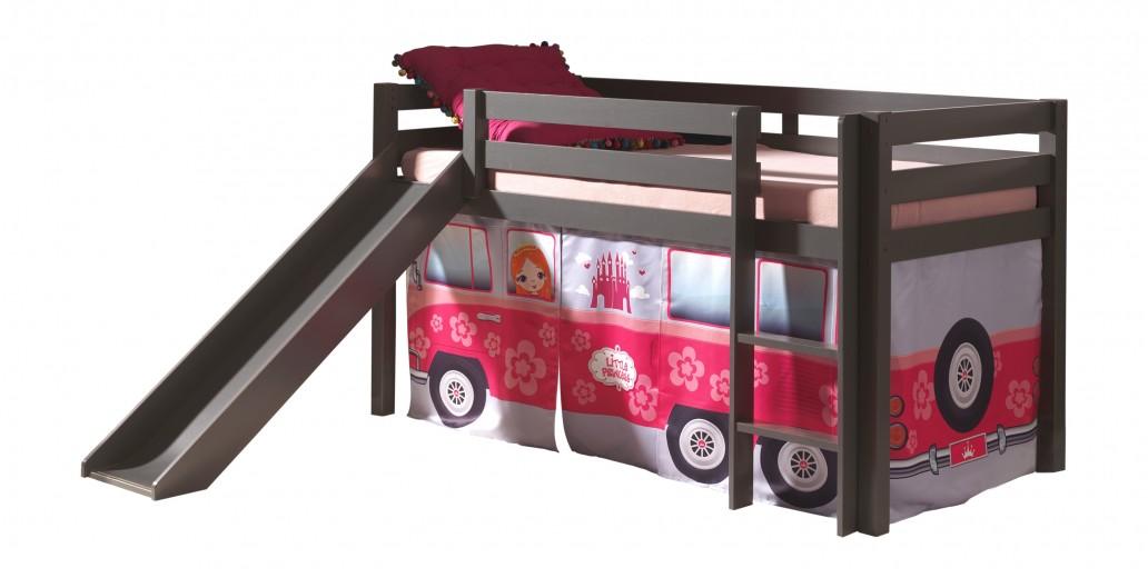 Pat etajat din lemn de pin, cu topogan pentru copii Pino Little Princess Grej, 200 x 90 cm