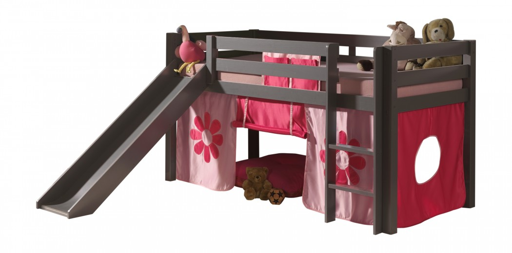Pat etajat din lemn de pin, cu topogan pentru copii Pino Pink Flower Grej, 200 x 90 cm