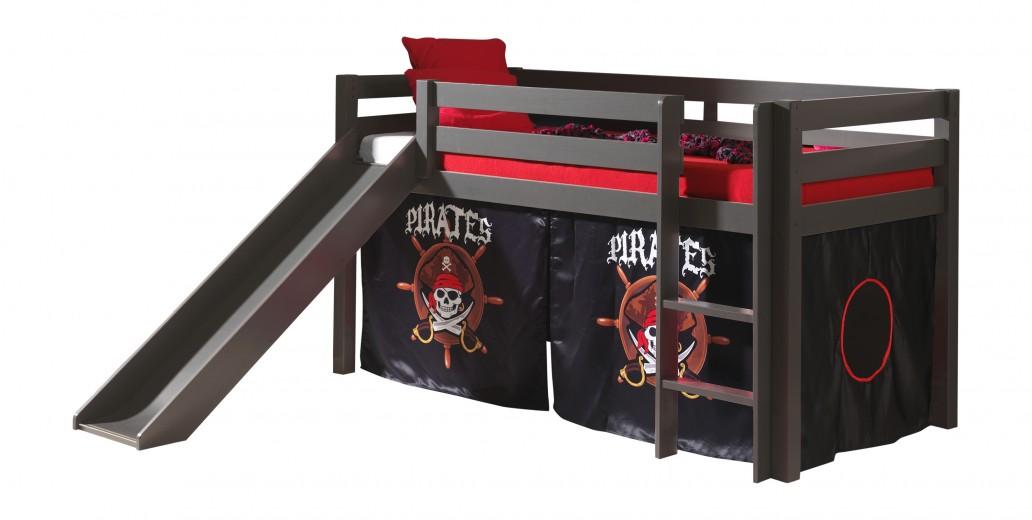 Pat etajat din lemn de pin, cu topogan pentru copii Pino Pirates Grej, 200 x 90 cm