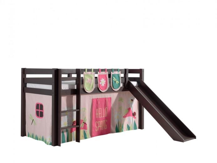 Pat etajat din lemn de pin, cu topogan pentru copii Pino Plus Spring Grej, 200 x 90 cm