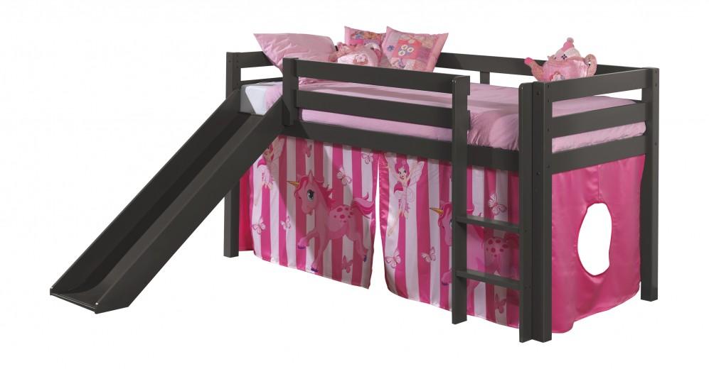 Pat etajat din lemn de pin, cu topogan pentru copii Pino Pony Grej, 200 x 90 cm