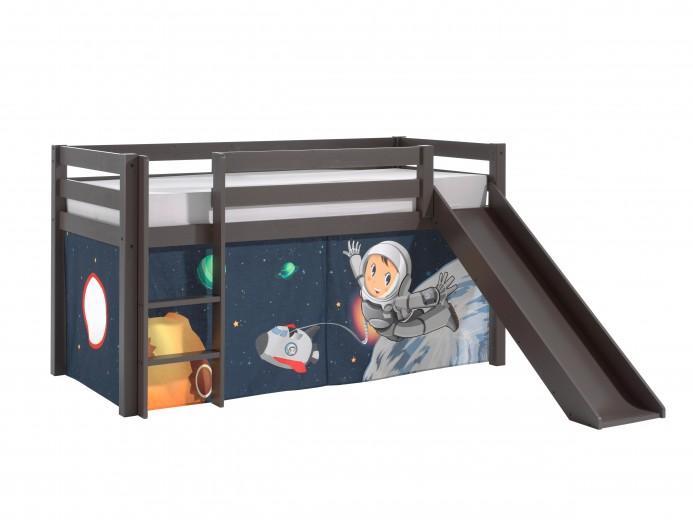 Pat etajat din lemn de pin, cu topogan pentru copii Pino Space Grej, 200 x 90 cm