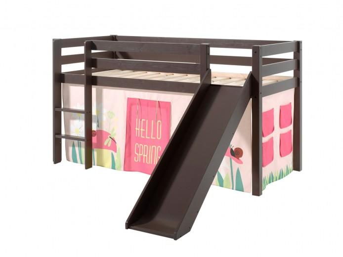 Pat etajat din lemn de pin, cu topogan pentru copii Pino Spring Grej, 200 x 90 cm