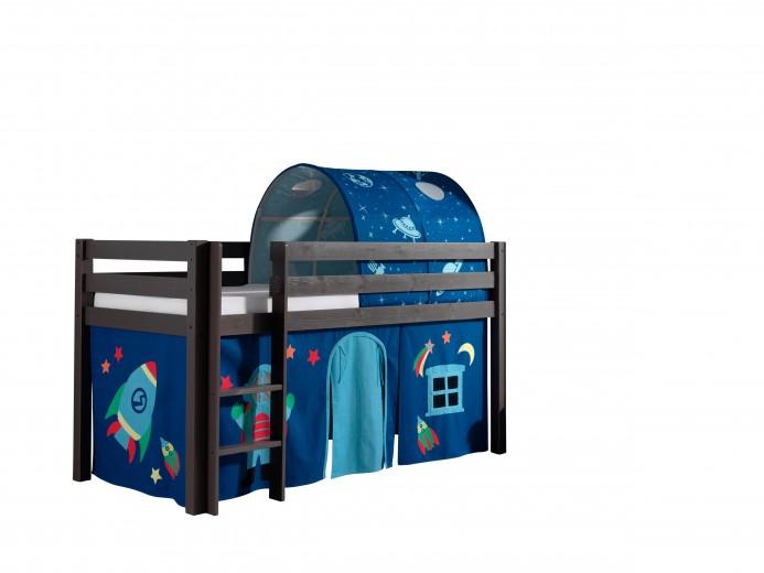 Pat etajat din lemn de pin, cu tunel si spatiu de joaca pentru copii Pino Astro Grej, 200 x 90 cm