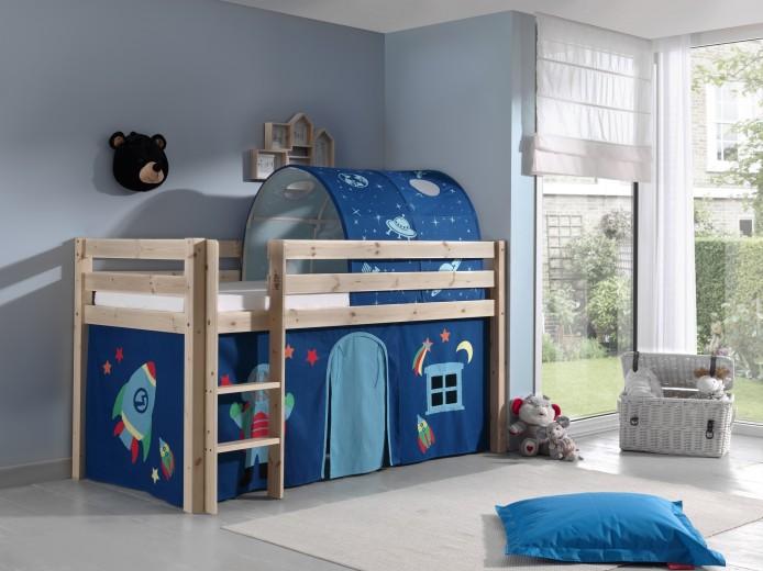 Pat etajat din lemn de pin, cu tunel si spatiu de joaca pentru copii Pino Astro Natural, 200 x 90 cm
