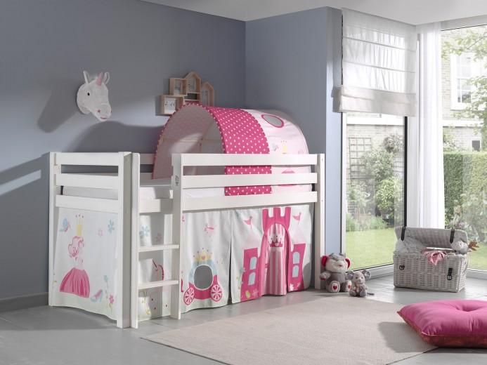 Pat etajat din lemn de pin, cu tunel si spatiu de joaca pentru copii Pino Princess Alb, 200 x 90 cm