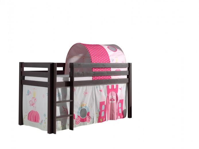 Pat etajat din lemn de pin, cu tunel si spatiu de joaca pentru copii Pino Princess Grej, 200 x 90 cm