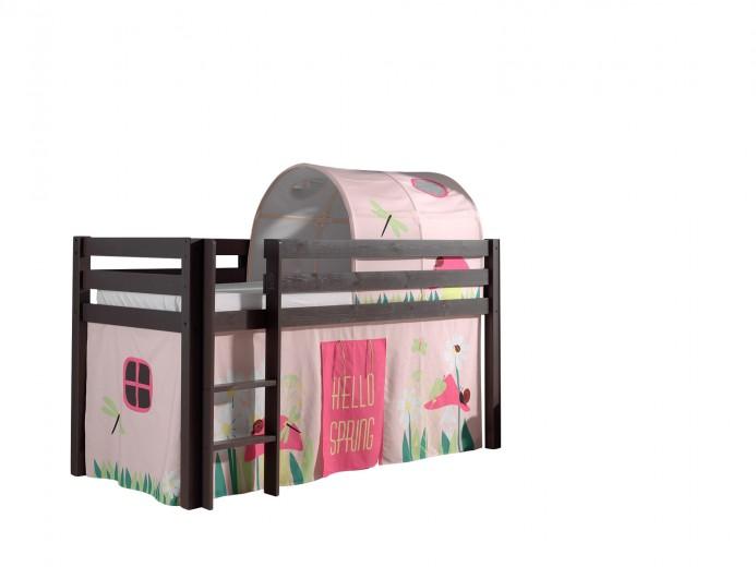 Pat etajat din lemn de pin, cu tunel si spatiu de joaca pentru copii Pino Spring Grej, 200 x 90 cm