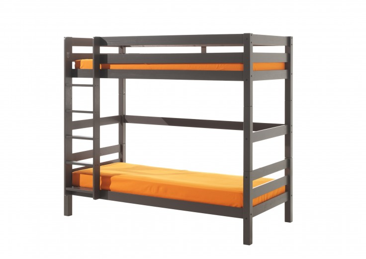 Pat etajat din lemn de pin pentru copii Pino Tall Grej, 200 x 90 cm