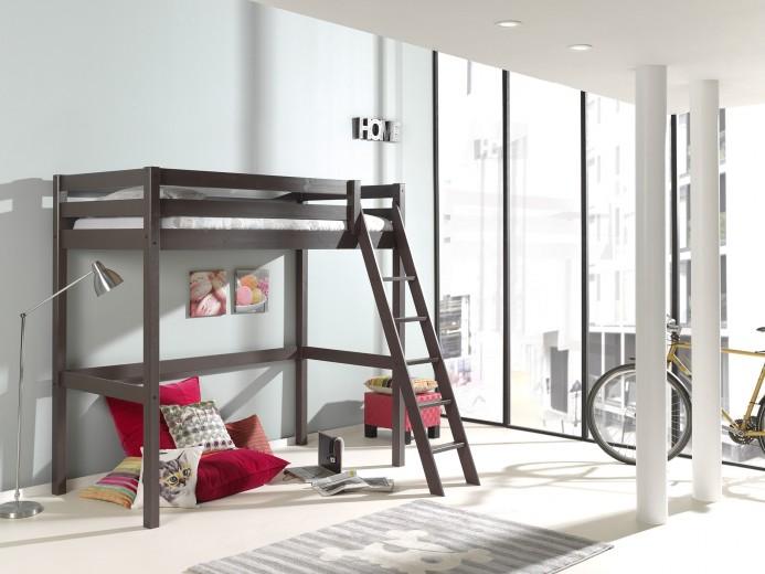Pat etajat din lemn de pin pentru copii si tineret Pino Mezzanine II Grej