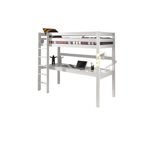 Pat etajat din lemn de pin si MDF cu birou incorporat, pentru copii Pino Desk Alb, 200 x 90 cm