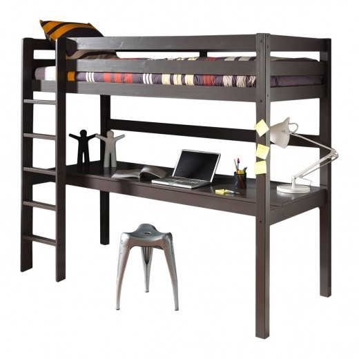 Pat etajat din lemn de pin si MDF cu birou incorporat, pentru copii Pino Desk Grej, 200 x 90 cm