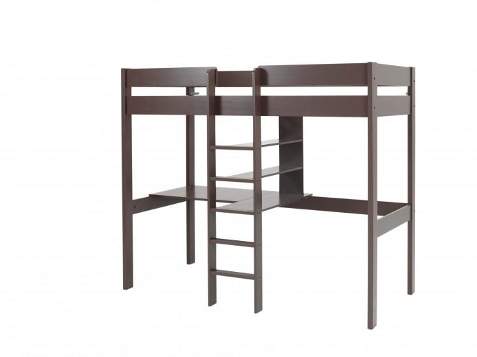 Pat etajat din lemn de pin si MDF cu birou incorporat, pentru copii Pino Mezzanine Grej, 200 x 90 cm