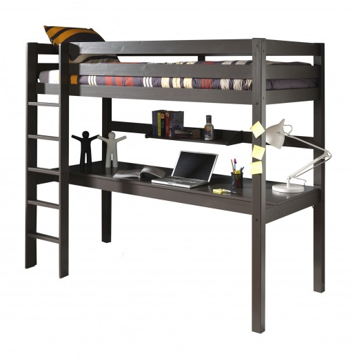 Pat etajat din lemn de pin si MDF cu birou incorporat si etajera, pentru copii Pino Desk Grej, 200 x 90 cm