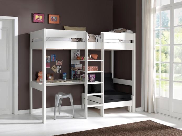 Pat etajat din lemn de pin si MDF cu birou si fotoliu extensibil, pentru copii Pino Mezzanine Alb, 200 x 90 cm