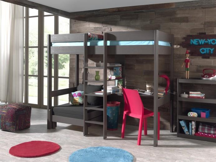 Pat etajat din lemn de pin si MDF cu birou si fotoliu extensibil, pentru copii Pino Mezzanine Grej, 200 x 90 cm