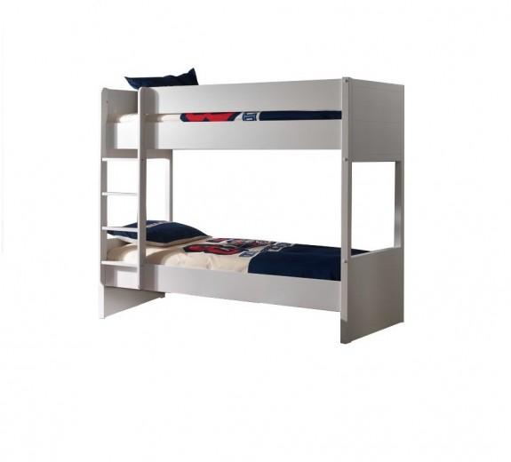 Pat etajat din lemn de pin si MDF pentru copii Lara Alb, 200 x 90 cm