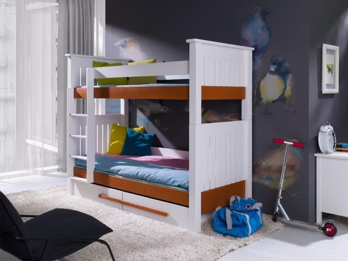 Pat supraetajat din lemn de pin, cu 2 sertare pentru copii Casimir, 200 x 90 cm