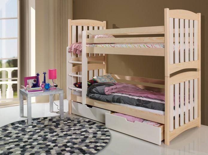 Pat supraetajat din lemn de pin, cu 2 sertare pentru copii Serafin, 200 x 90 cm