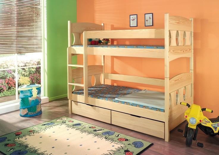 Pat etajat din lemn masiv de pin pentru copii Wiktor