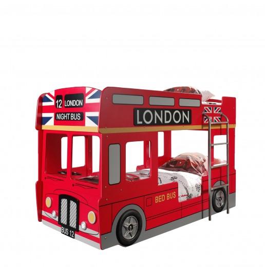 Pat etajat din MDF pentru copii London Bus Rosu, 200 x 90 cm