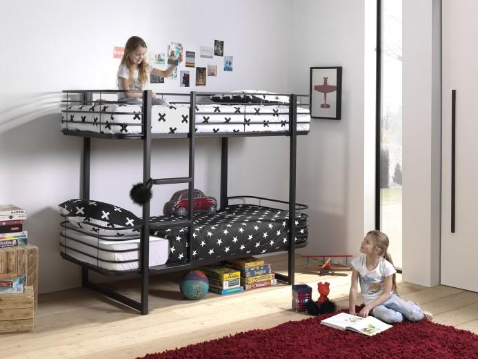 Pat etajat din metal pentru copii Oscar Negru, 200 x 90 cm