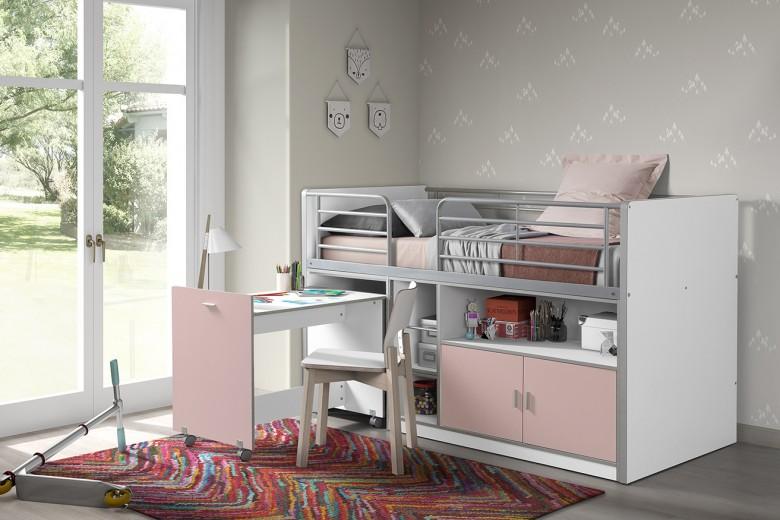 Pat etajat din pal si metal cu birou incorporat si 2 usi, pentru copii Bonny Alb / Roz, 200 x 90 cm