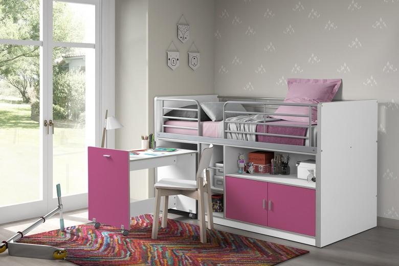 Pat etajat din pal si metal cu birou incorporat si 2 usi, pentru copii Bonny Alb / Fucsia, 200 x 90 cm