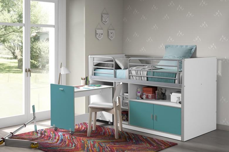 Pat etajat din pal si metal cu birou incorporat si 2 usi, pentru copii Bonny Alb / Turcoaz, 200 x 90 cm