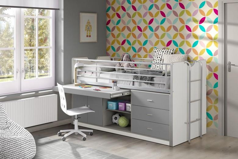 Pat etajat din pal si metal cu birou incorporat si 3 sertare, pentru copii Bonny Alb / Gri, 200 x 90 cm