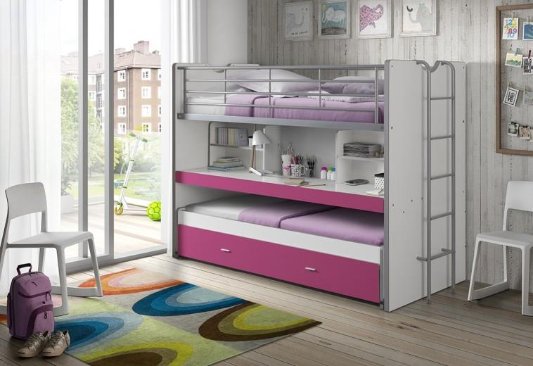 Pat etajat din pal si metal cu birou incorporat si sertar, pentru copii Bonny Alb / Fucsia, 200 x 90 cm