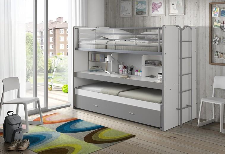 Pat etajat din pal si metal cu birou incorporat si sertar, pentru copii Bonny Alb / Gri, 200 x 90 cm