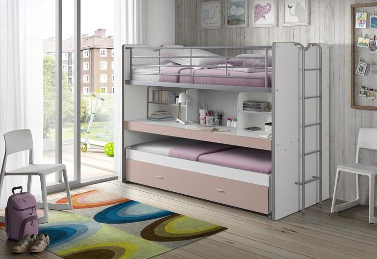 Pat etajat din pal si metal cu birou incorporat si sertar, pentru copii Bonny Alb / Roz, 200 x 90 cm