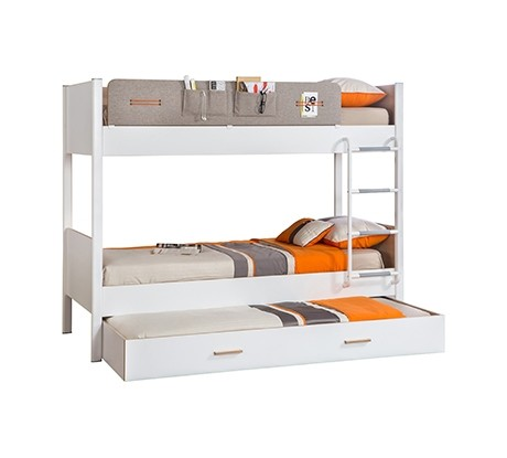 Pat etajat din pal si metal cu sertar, pentru tineret Dynamic White / Light Grey, 190 x 100 cm