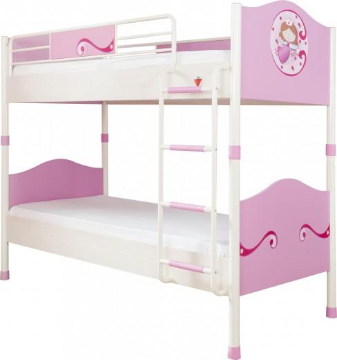 Pat etajat din pal si metal, pentru copii Little Princess Pink / White, 200 x 90 cm