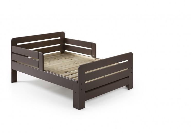 Pat extensibil din lemn de pin pentru copii Jumper Grej, 140 x 90 cm