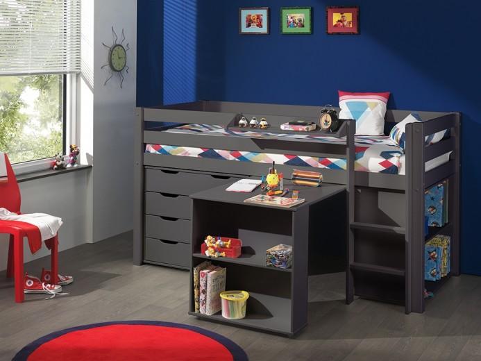 Pat multifunctional din lemn de pin, cu birou si biblioteca pentru copii Pino Grej, 200 x 90 cm