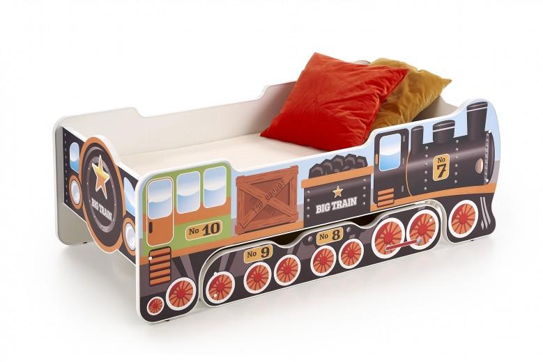 Pat din pal cu sertar, pentru copii Lokomo Multicolor, 140 x 70 cm