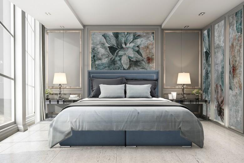 Pat rabatabil cu lada de depozitare, tapitat cu stofa Annecy Boxspring Royal Blue, topper Visco inclus, 200 x 160 cm
