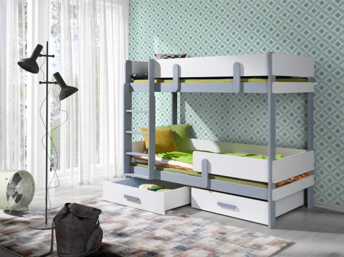 Pat supraetajat din lemn de pin si pal, cu 2 sertare pentru copii Ettore, 200 x 90 cm