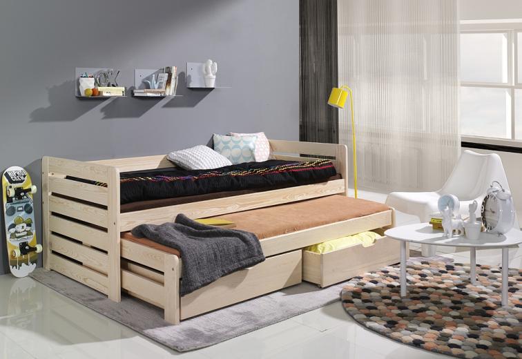 Pat suprapus din lemn de pin, cu 2 sertare pentru copii Tomasz, 200 x 90 cm