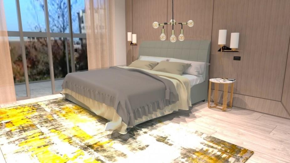 Pat tapitat cu stofa, Somiera Rabatabila si lada de depozitare, picioare din lemn, Madison Prestige, 200 x 160 cm
