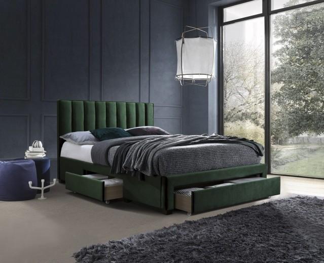 Pat tapitat cu stofa si 3 sertare Grace Verde inchis, 200 x 160 cm