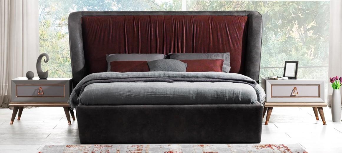 Pat tapitat cu stofa Toscana Dore Burgundy / Antracit, 200 x 160 cm