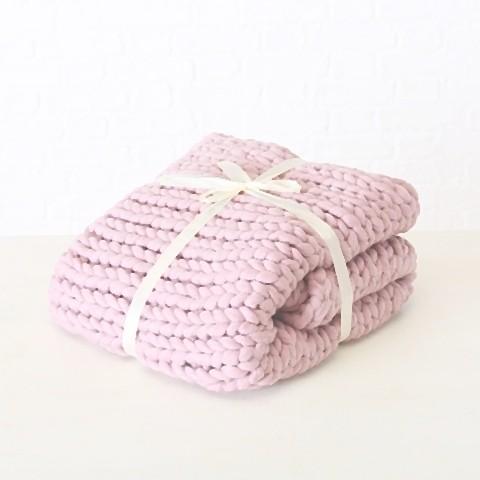 Patura tricotata din poliester Nellio Roz, 125 x 150 cm