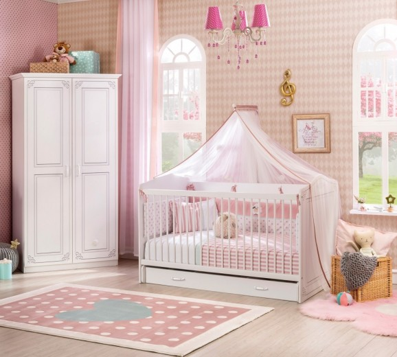Patut din pal cu sertar, pentru bebe Selena Baby White, 140 x 70 cm