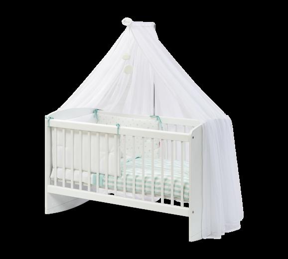 Patut din pal cu sistem de leganare, pentru bebe Cradle Baby Alb, 100 x 50 cm