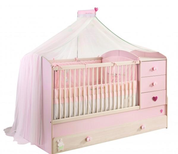 Patut transformabil din pal cu sertar, pentru bebe Baby Girl Light Pink / Nature, 180 x 80 cm