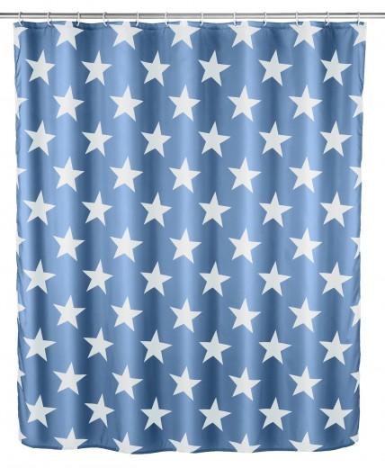Perdea dus anti-mucegai din poliester, Stella Albastru, 180 x 200 cm