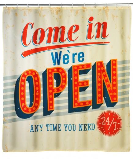 Perdea dus anti-mucegai din poliester, Vintage Open Multicolor, 180 x 200 cm